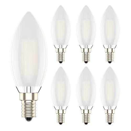6 Pezzi 6W E14 Dimmerabile Lampadina Filamento Luce Calda LED Bianco Caldo 2700K Frosted Vetro Lampadine Candela Equivalenti a 60W Incandescenza