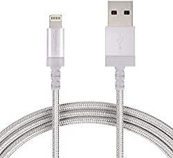 AmazonBasics Nylon Braided USB A to Lightning Compatible Cable - Apple MFi Certified - Silver (6 Feet/1.8 Meter),AmazonBasics,L6LMF012-CS-R,amazon basics apple cable,amazon basics lightning cable,amazonbasics lightning cable,apple cable,apple cable for iphone 6,apple cable short,apple cables,apple certified lightning cable,apple lightning cable,apple lightning cable original,apple mfi certified lightning cable,iphone 6 lightning cable,iphone 6s lightning cable,iphone 7 lightning cable,iphone lig