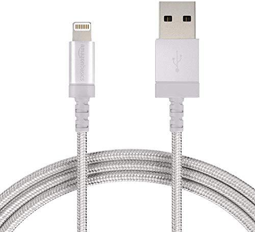 Amazon Basics - Cable conector USB a Lightning (nailon trenzado, certificado por Apple, 0,9 m), color plateado