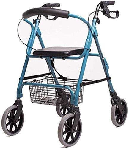 Andadores para discapacidad Andador para Ancianos Ligera Ancianos Ruedas Roller Walker con Acolchado del Respaldo del Asiento 4 Ruedas Plegable Carrito de la Compra
