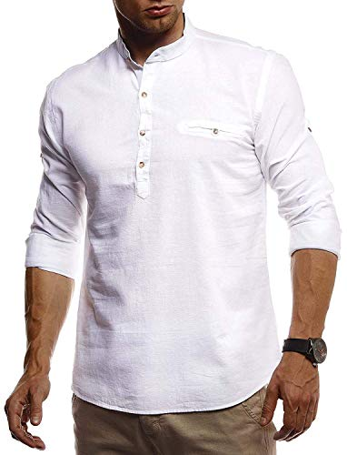 Gemijacka Hemd Herren Leinenhemd Herren Langarm Hemd Henley Men\'s Shirts Freizeithemd mit Stehkragen Langarmshirt, Weiß, M