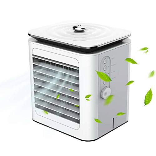 LISRUI Mini condizionatore d'aria 3 in 1 Ventola di raffreddamento Touch Screen Timing, Ventola di raffreddamento USB di ricarica regolabile a 3 velocità, bianco per casa, ufficio, camera da letto