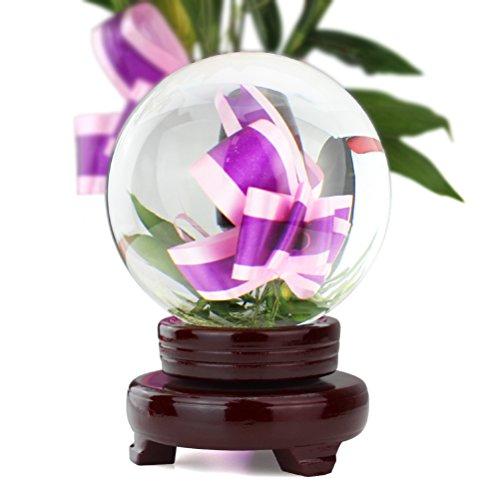 HBF 100 mm Bola De Cristal Transparente con Soporte De Madera Bola De