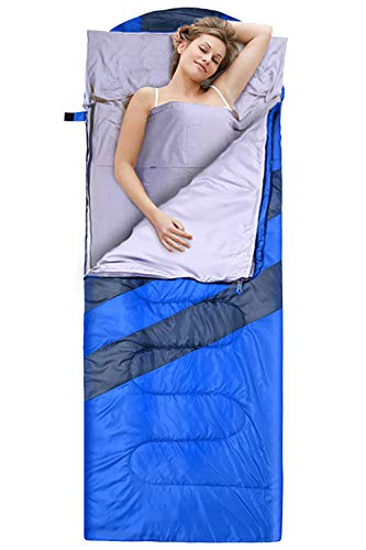 Sportneer Sleeping Bag Portable Large Sleeping Bags with Detachable Zipper Liner, 3 Seasons Sleeping Bag with Compression Sack for Camping, Hiking, Backpacking, Outdoor Traveling, Hotel