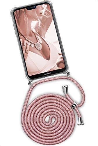 ONEFLOW Twist Hülle kompatibel mit Huawei Mate 20 Lite - Handykette, Handyhülle mit Band zum Umhängen, Hülle mit Kette abnehmbar, Rosegold