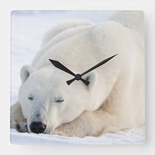 Kysd43Mill Reloj de pared cuadrado de madera de oso polar en invierno decorativo para sala de estar, habitación de los niños, niñas y niños, 30,4 cm, regalo de inauguración de la casa