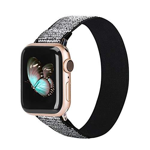 TOYOUTHS Compatible con Apple Watch 5, correa de 44 mm, nailon Scrunchie para mujer, tejido estampado, correa de repuesto para IWatch Series 5/4/3/2/1.