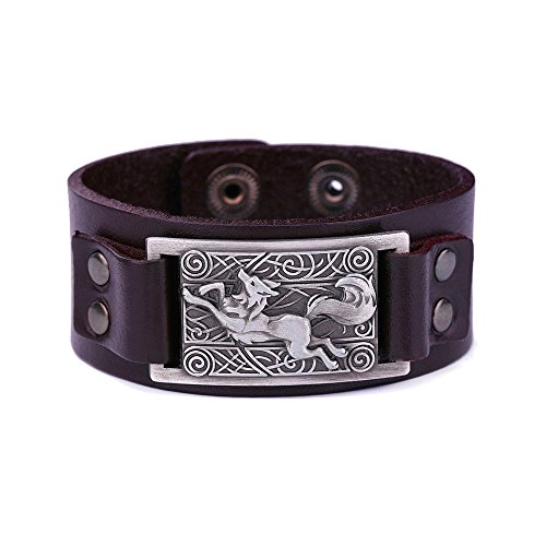 Lemegeton - Pulsera de lobo vikingo para hombre, diseño de nudo celta, estilo vintage punk retro