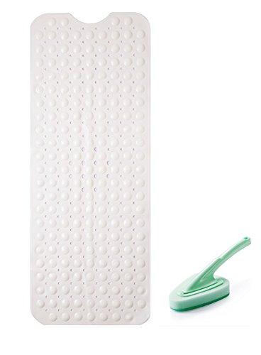 Somine Tappetino Antiscivolo per Vasca con Una Spazzola di Pulizia- Dimensione:100cm X40cm per Balneazione sicura e Confortevole