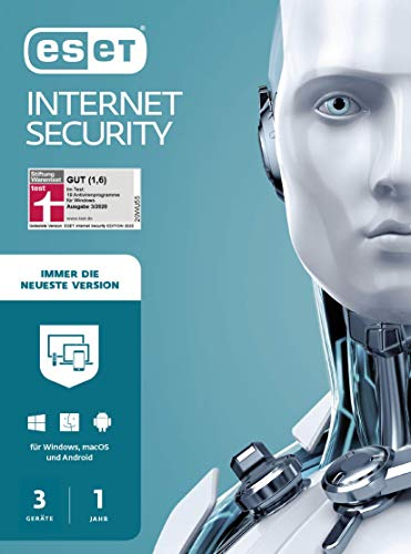 ESET Internet Security 2021 | 3 Geräte | 1 Jahr | Windows (10, 8, 7 und Vista), macOS, Linux und Android | Download