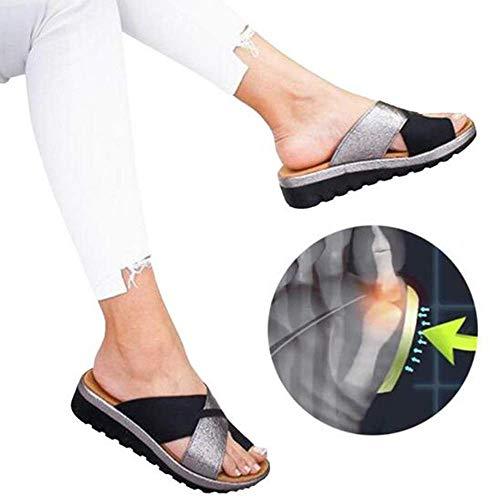 XQYPYL Damen Flip Flops Big Toe Hallux Valgus Unterstützung Plattform Sandale Schuhe Für Die Behandlung Für Bunion Correct,01,40