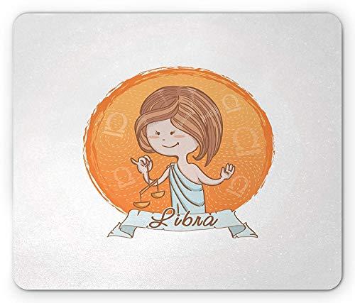 Alfombrilla de ratón Zodiac Libra, Mujer Griega Antigua de Estilo de Dibujos...
