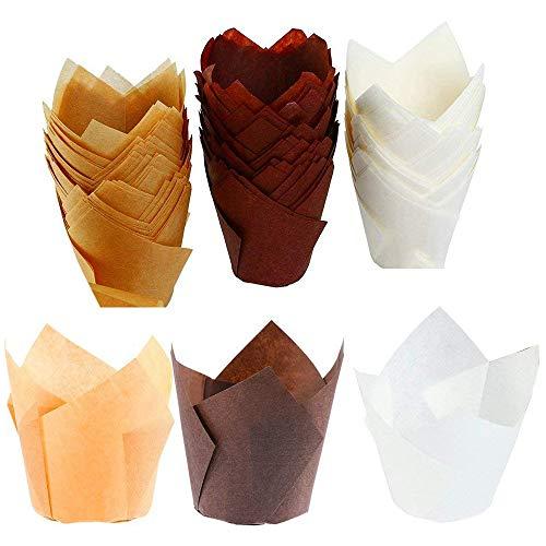 150 unidades de moldes de papel para hornear, para magdalenas, magdalenas, moldes para hornear magdalenas, para bodas, cumpleaños, baby showers, 2,5 pulgadas (marrón, natural y blanco)