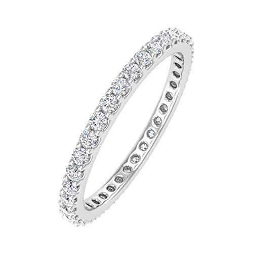 1/2 Carat Diamond Eternity Wedding Band in 10K White Gold (Ring Size 7)