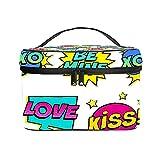 Bolso cosmético portátil del Viaje de Las señoras,Bolso del Maquillaje,Burbujas de Colores Love,Kiss,XOXO,BE Mine Vector Illustion,Bolsa de Aseo multifunción Que recibe