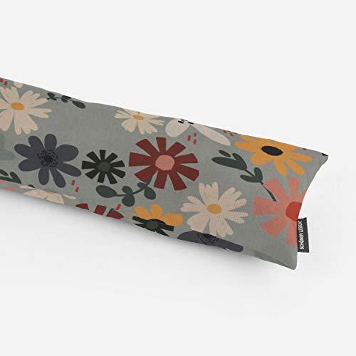 SCHÖNER LEBEN. Zugluftstopper Halbpanama Blumen Blüten Mint bunt Verschiedene Größen, Auswahl:130cm Länge