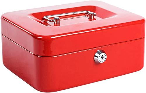 JORSION Locking Medium Steel Cash Box - Caja de seguridad con bandeja para monedas, 20 x 16 x 9 cm, color rojo