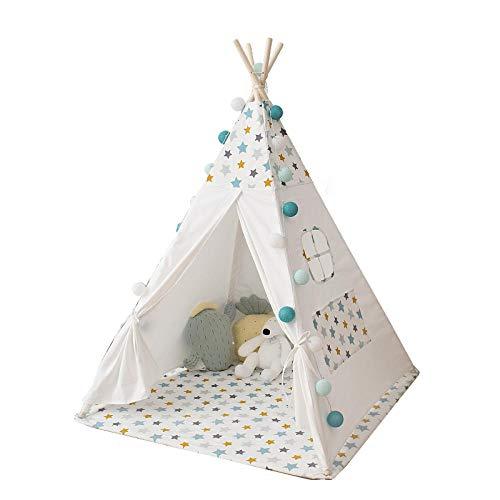 La tienda del juego De los niños tienda casa Indian tienda del juego castillo de la muchacha del muchacho de juguete for niños sala de decoración en blanco de la felpa del amortiguador 120 * 120m Para