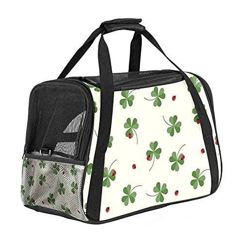 Transportador de mascotas Clover Ladybug Transportadores de viaje para mascotas de cara suave para gatos, perros, cachorro, comodidad portátil, plegable, bolsa para mascotas aprobada por aerolíneas