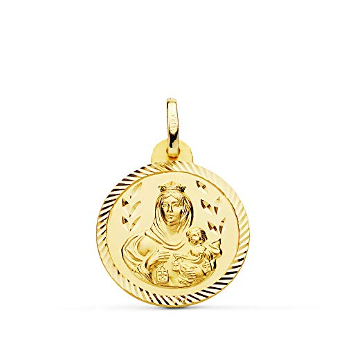 Medalla Nuestra Señora del Carmen. Colgante Virgen. Oro 18 Kilates Hélice 20mm - Grabado personalizado