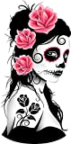 Pink Day of The Dead Sugar Skull Girl Peel and Stick Waterproof Sticker