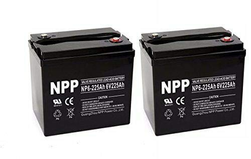 NPP NP6-225Ah 6V 225Ah AGM Deep Cycle SLA Rechargeable Battery for Golf Cart RV Boat Camper Solar System (2 Pack)