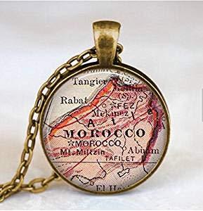 Marokko Karte Halskette, marokko Karte Anhänger, marokko Karte Schmuck, Karte Anhänger Schmuck, Art Anhänger, Marokko Nordafrika Anhänger