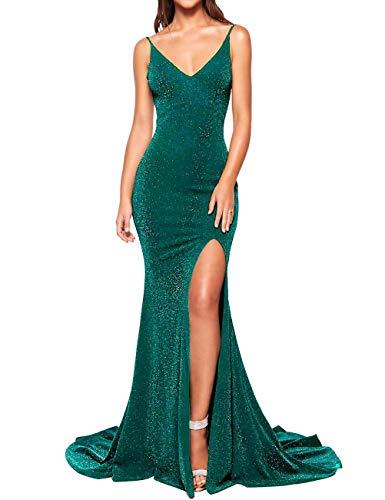 Leeskoot Women's Spaghetti V-Neck Prom Dresses Long Mermaid Evening Gown Glittery Bridesmaid Dress(Peacock Green,06)