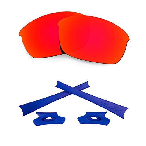 HKUCO For Oakley Flak Jacket Red Polarized Replacement Lenses And Dark Blue Earsocks Rubber Kit