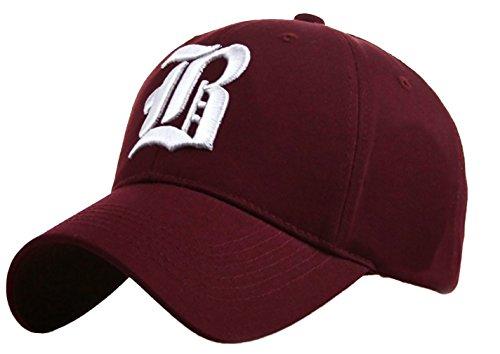 Gorra de Béisbol informal, letra B Gótica maroon B white Talla única
