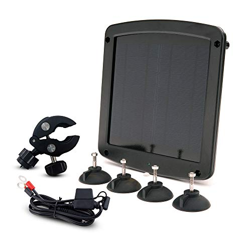 Battery Tender 12 Volt 5 Watt Solar Battery Charger and Maintainer - Weatherproof Mountable Solar Battery Charger with Windshield and Handlebar Mounts, Ring Terminal Cable, OBD II Connector - 021-1172