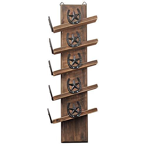 YANGMAN Wijnrek aan de muur bevestigd, massief houten wijnrek bevat 5 flessen wijn voor keuken/bar/restaurant Etc, afmeting 27X12x80 cm