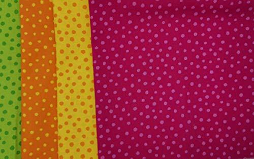 kukido Westfalenstoffe STOFFPAKET 4 Quadrate 48x48cm Junge Linie (Tupfen Mix 02)