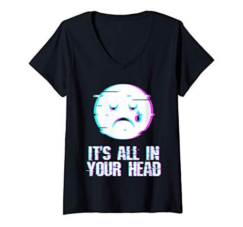 Mujer Fallo estético del festival emocional de Vaporwave Camiseta Cuello V