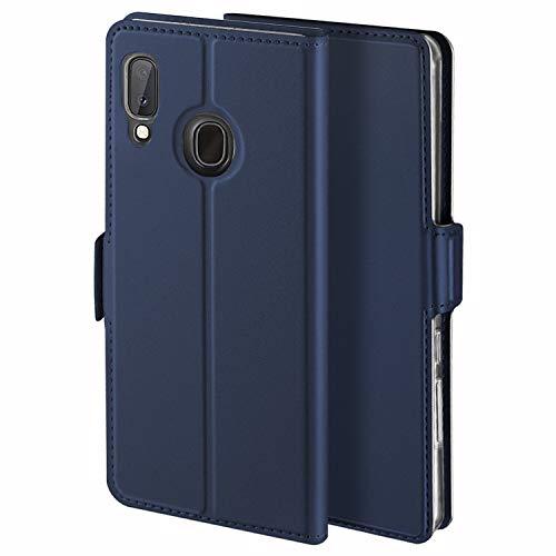 YATWIN Handyhülle für Samsung Galaxy A20E Hülle Premium Leder Flip Hülle Schutzhülle für Samsung Galaxy A20E Tasche, Blau
