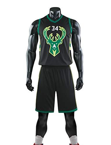 YDYL-LI Jersey Men's, NBA Milwaukee Bucks-Giannis Antetokounmpo # 34- Monedero Resistente Al Desgaste Transpirable + Set Short 1,Negro,XL (Adult)