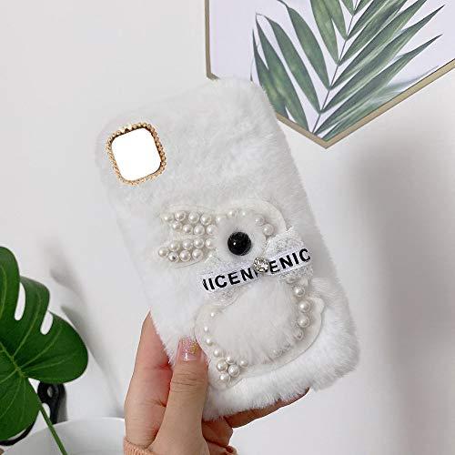 YHY F12 Estuche Teléfono Móvil Estilo Lindo 3D Perla Linda Peluche De Conejo para Samsung Galaxy F12 Blanco