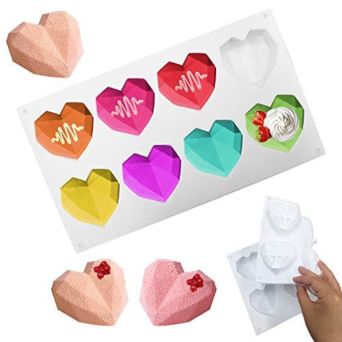Silikonform 3D Diamant Herz Kuchenform Backform Muffinform Schokoladenseifenkuchen Dessert DIY Tool
