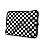 Chequered with Black and White Checkerboard Laptop Sleeve Case Neoprene Sleeve Bag Portable Protective Sleeve Cover Compatible 13-15 Inch Laptop and Tablet