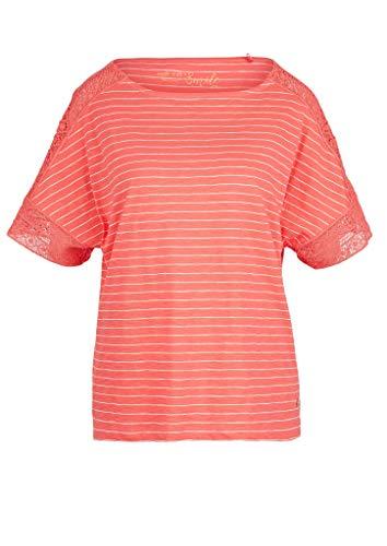 s.Oliver Damen Ringelshirt mit Spitze coral stripes 42