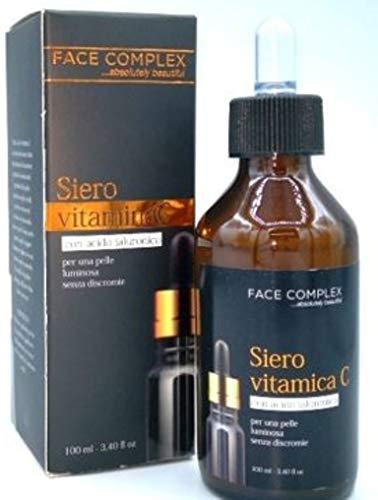 Face Complex - Sérum facial Vitamina C con ácido hialurónico, antiarrugas, antiedad, 100 ml