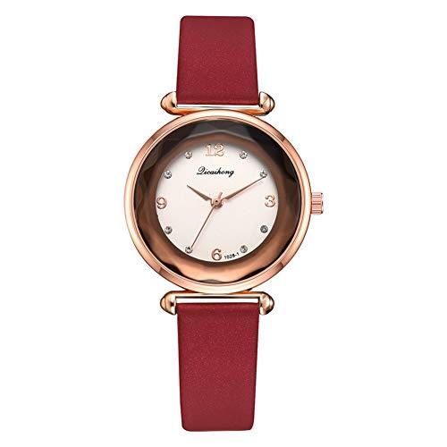 TYYW Reloj De Cuarzo con Banda De Cuero De PU, Marco De Oro Rosa con Reloj De Pulsera Femenino De Diamantes De Imitación (Rojo)