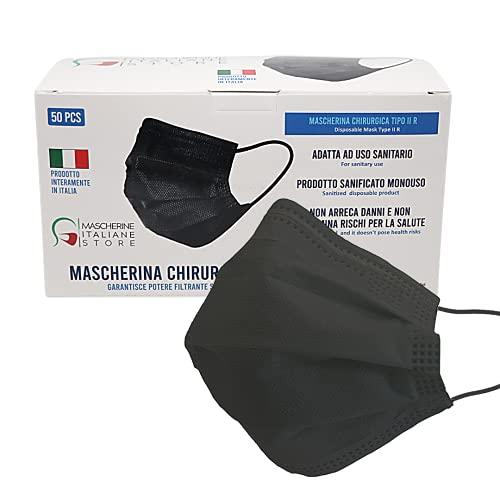 Mascherina Chirurgica Nera 3 strati, Mascherina Chirurgica italiana di tipo II R Certificata CE100% Made in Italy - Confezione 50 pezzi (Nero)