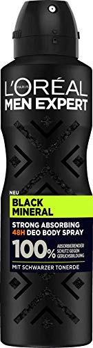 L'Oréal Men Expert Desodorante en spray Black Mineral de arcilla negra, pack de 6, protección absorbente contra la formación de olores sin sales de aluminio (6 x 150 ml)
