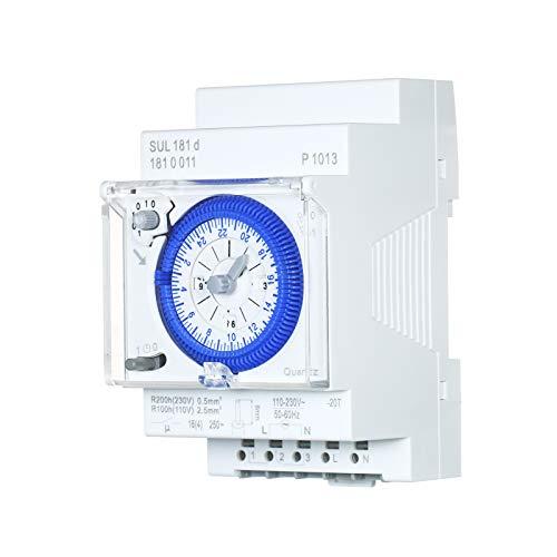 SUL181d Timer meccanico 24 ore Intervalli di 30 minuti Relè interruttore orario Timer programmabile elettrico Interruttore timer 24 ore su guida DIN con 96 orari di spegnimento o accensione impo