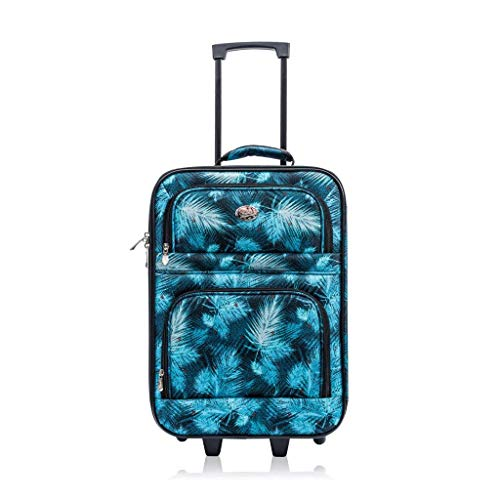 Jetstream 20 Inch Lightweight Luggage Softside Carry On Suitcase (Blue Leaf)