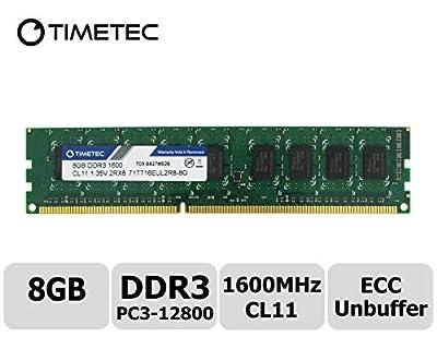 Timetec Hynix DDR3 1600MHz PC3-12800 Unbuffered ECC 1.5V CL11 2Rx8 Dual Rank 240 Pin UDIMM Server Memory Ram Module Upgrade