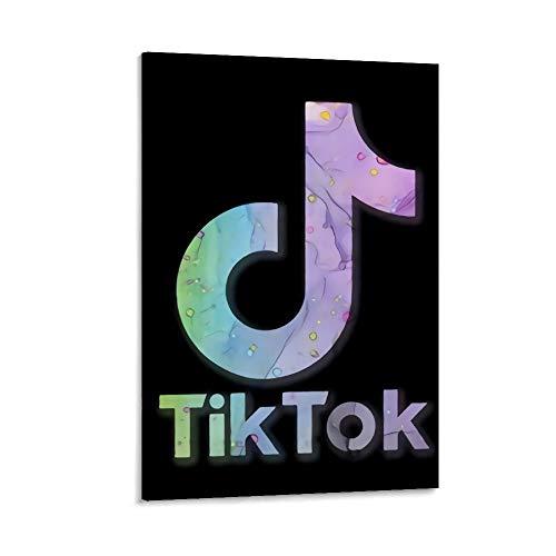 Ghychk Pop Social Media Tik Tok Póster de cuadros al óleo con logotipo de las pinturas a la moda, impresión de pared para sala de estar, obra de arte lista para colgar, 60 x 90 cm