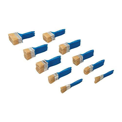 Silverline 359900 Lot de 50 pinceaux jetables en poils naturels/viroleargentés/manche Bleu Pantone 300 C