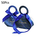 Caja de regalo de las cajas del caramelo, cajas del favor de la boda dulce, 50/100 piezas cielo estrellado de estrellas de papel cajas del caramelo del bolso del regalo de boda Caja de regalo de bienv